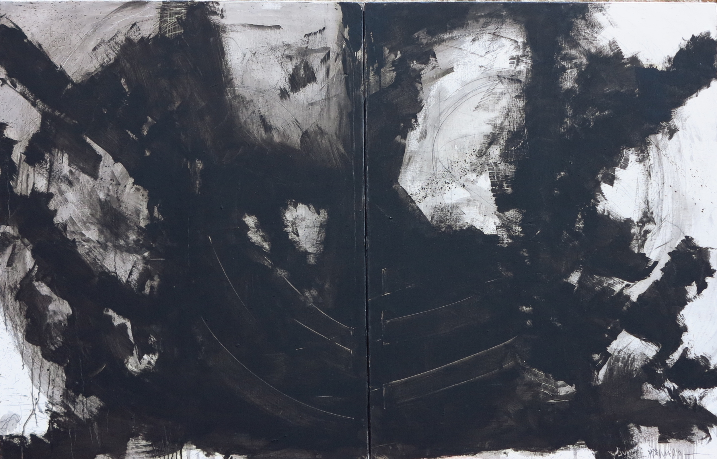 Diptych oil on canvas - size 200 x 130 cm / 78 x 51 inches