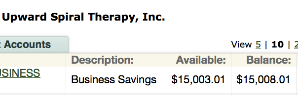 Here's a screenshot of our savings account...let's envision this at $50,000!