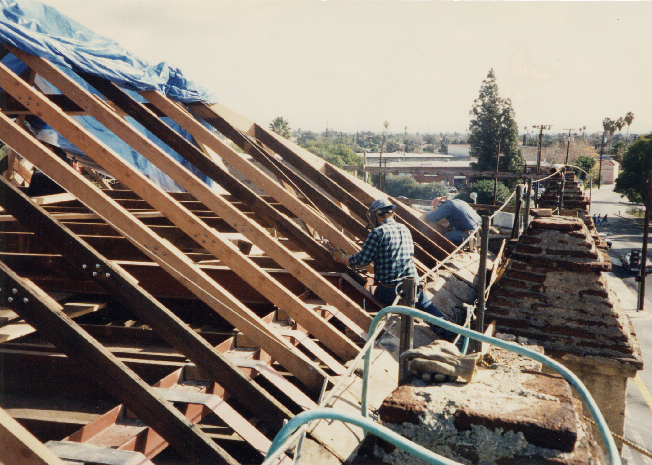 View of welding during steel reinforcement of roof.jpg