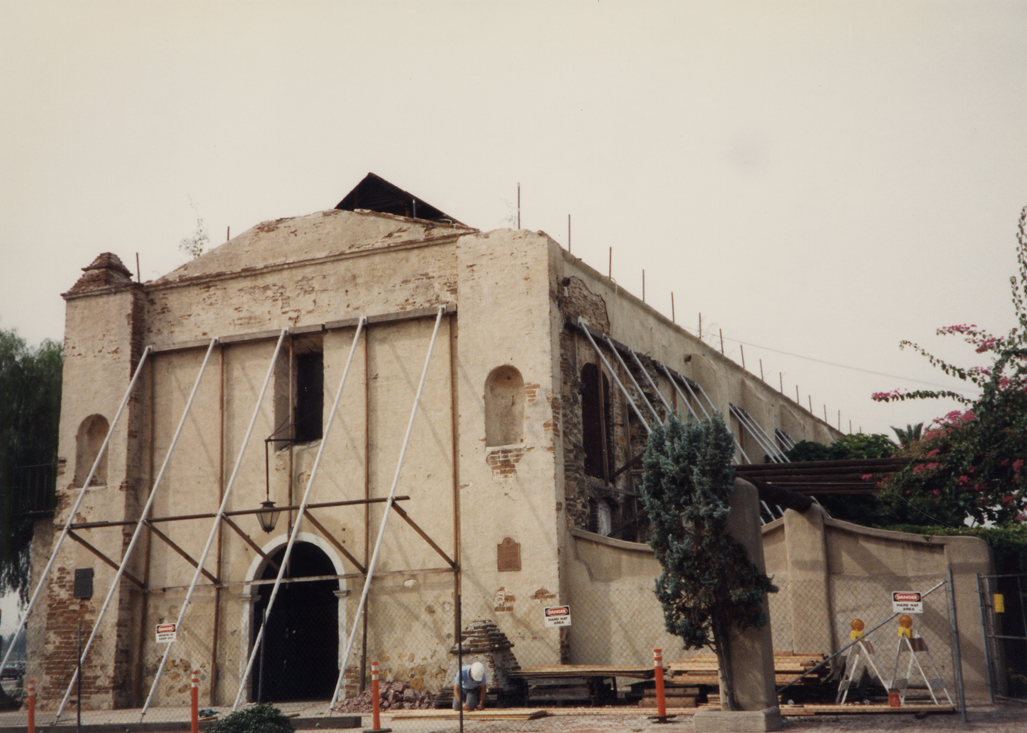 East elevation of old mission showing steel bracing installed after earthquake.jpg