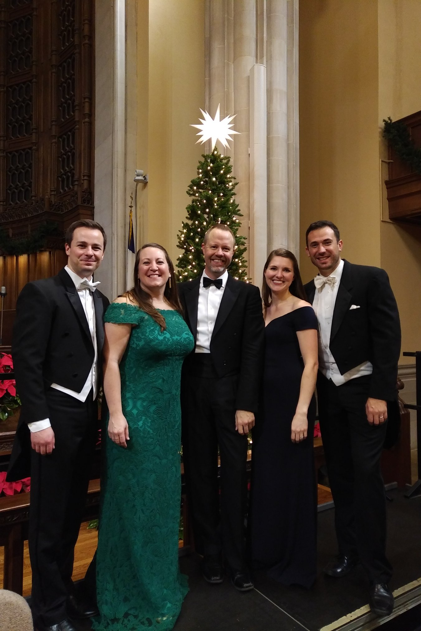 Messiah with Winston-Salem Symphony, 2018. From R-L, Patrick Muehleise, Clara Osowski, Christopher Gilliam, Margaret Carpenter Haigh, and John Buffett.