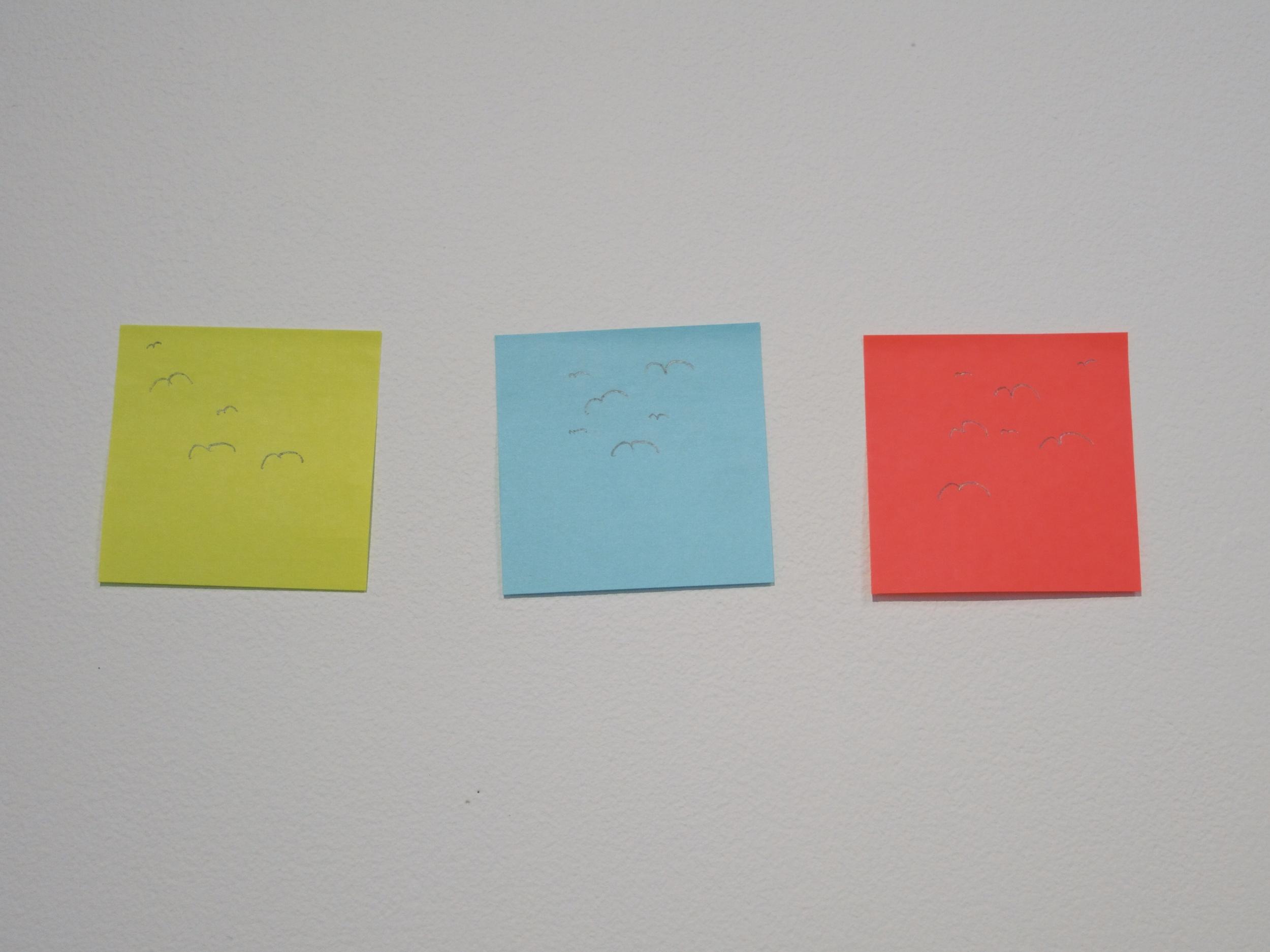 Sticky notes with drawn birds, 12x4x4, 2014.