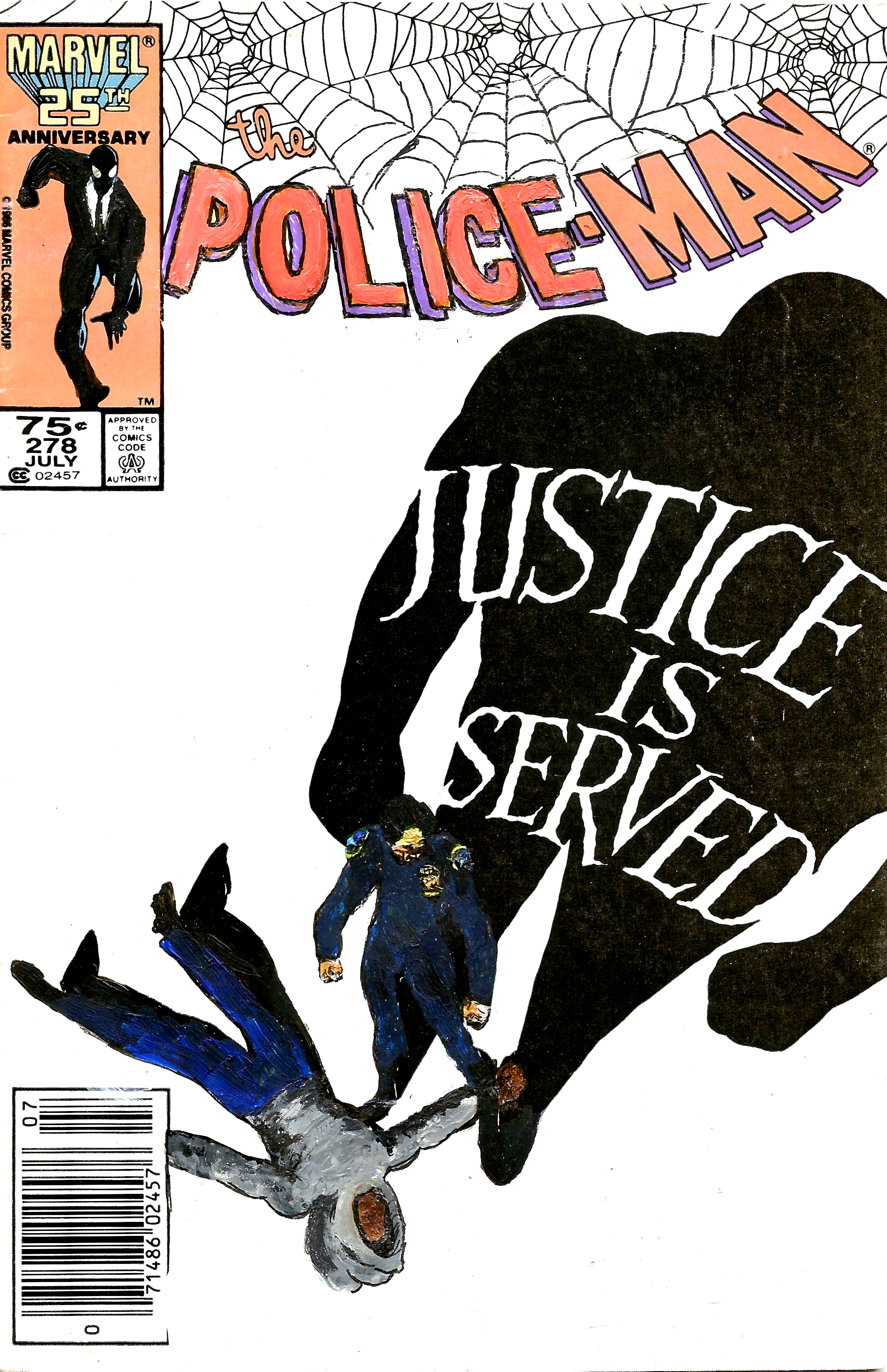 Kumasi J. Barnett Police-Man #278  Is Justice Served?, 2016 Acrylic, marker, pen and oil marker on comic book 9 3/4h x 6 1/4w inches