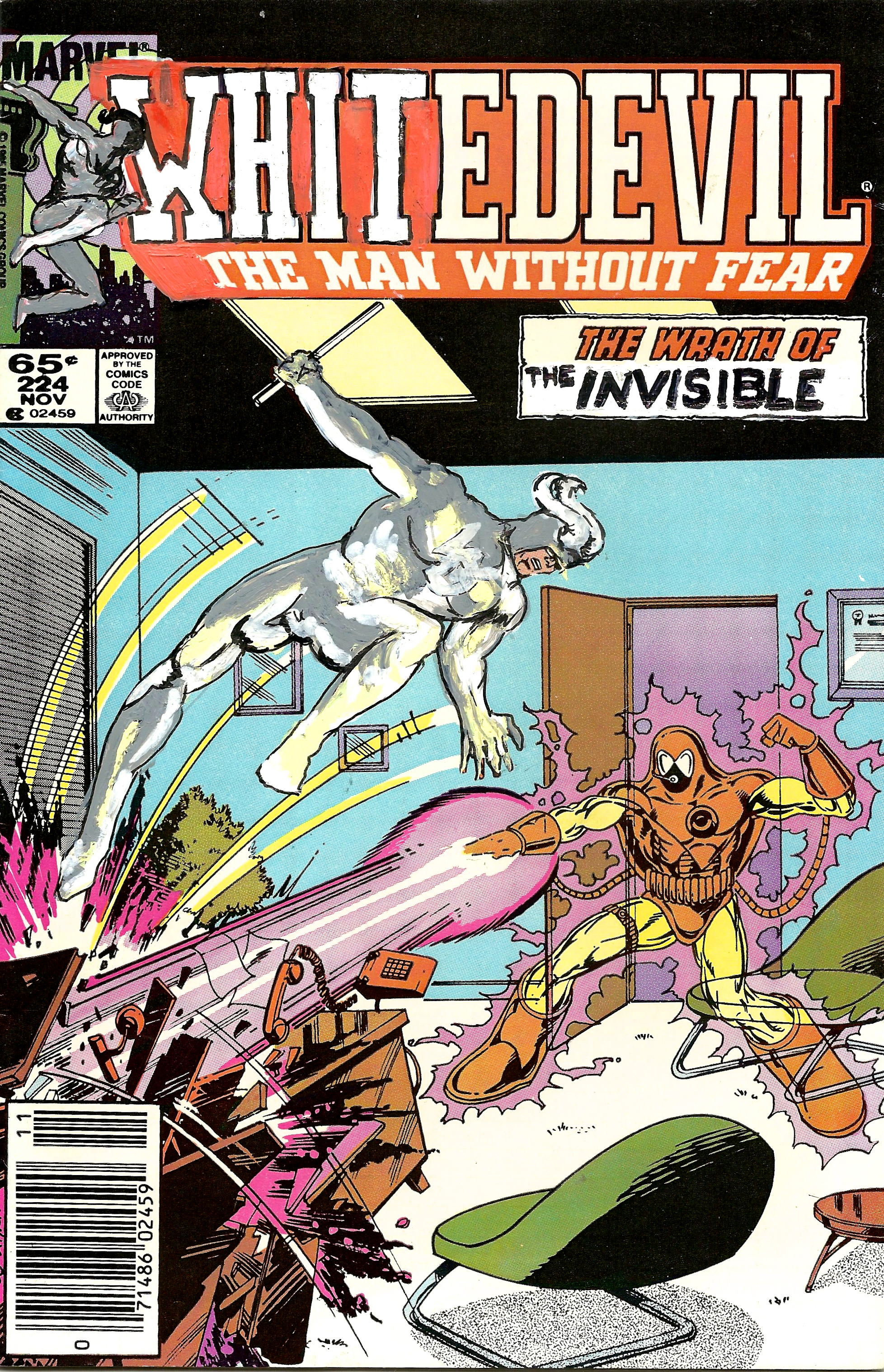Kumasi J. Barnett Whitedevil #224 The Wrath of the Invisible, 2015 Acrylic, marker, pen and oil marker on comic book 9 3/4h x 6 1/4w in