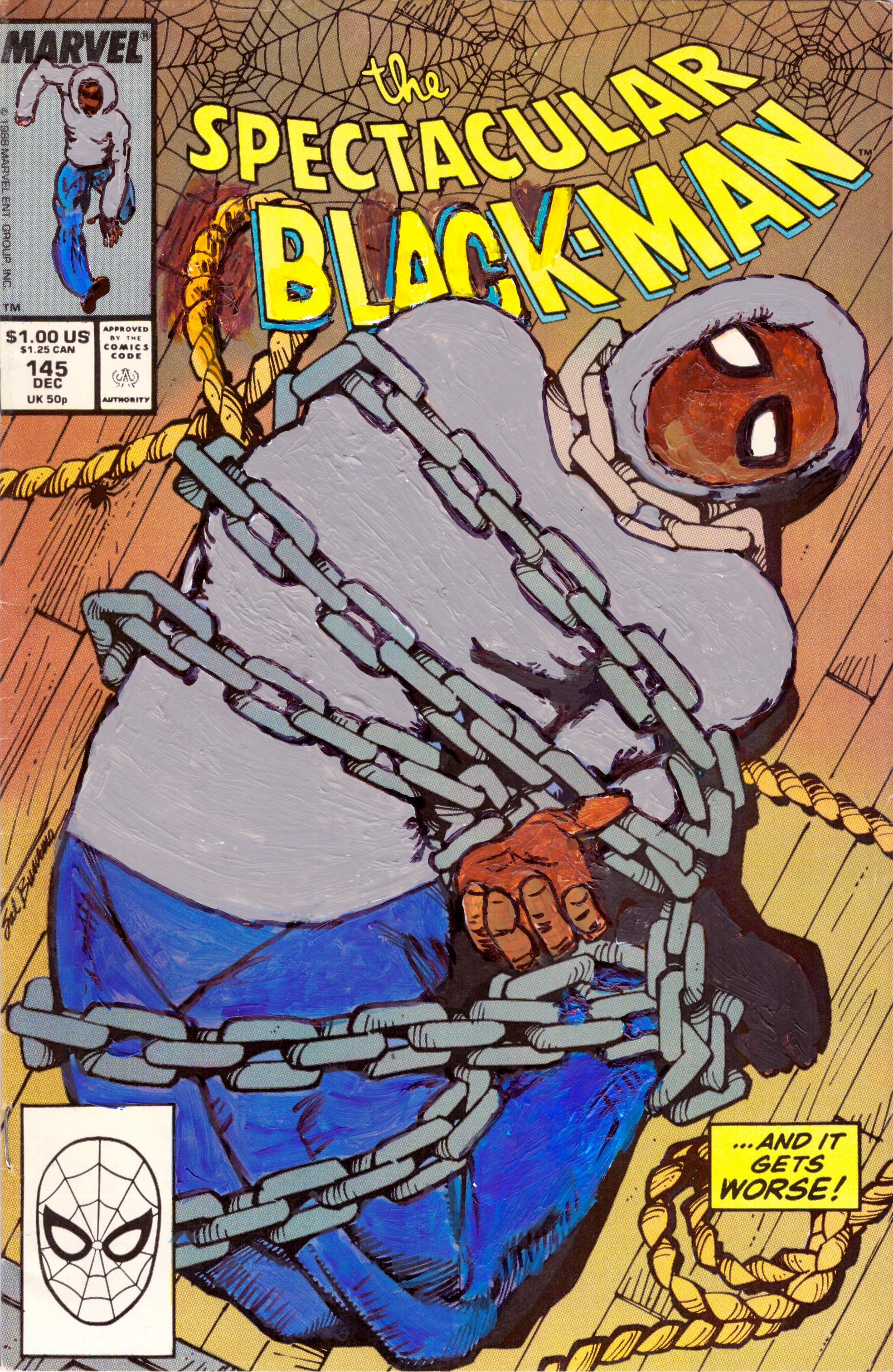 Kumasi J. Barnett Spectacular Black-Man #145 …And it gets Worse, 2019 Acrylic, marker, pen and oil marker on comic book 9 3/4h x 6 1/4w inches