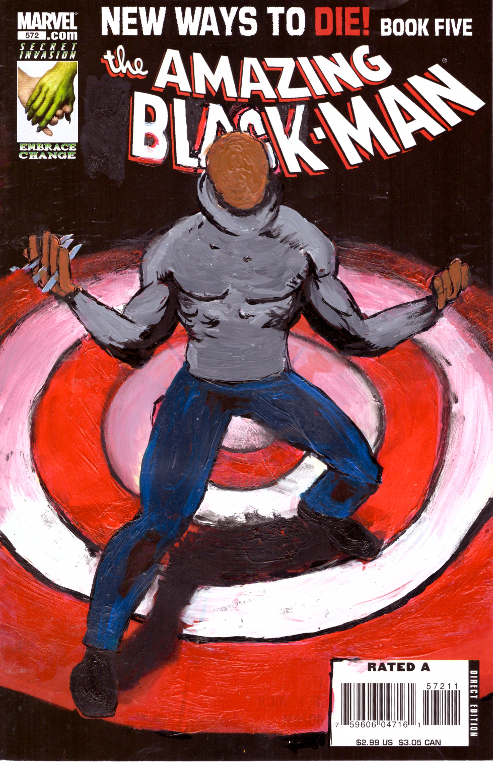 Kumasi J. Barnett The Amazing Black-Man #572  New Ways to Die! Book Five, 2018 Acrylic, marker, pen and oil marker on comic book 9 3/4h x 6 1/4w in