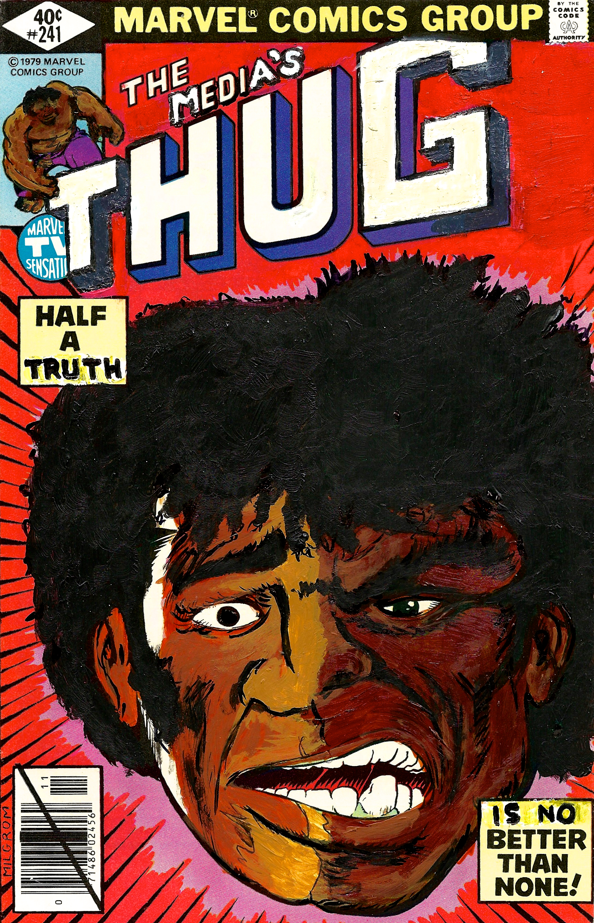 KB-120, Kumasi J. Barnett, The Media's Thug #241 Half a Truth…, 2015, Acrylic, marker, pen and oil marker on comic book, 9 3:4h x 6 1:4w inches.jpg