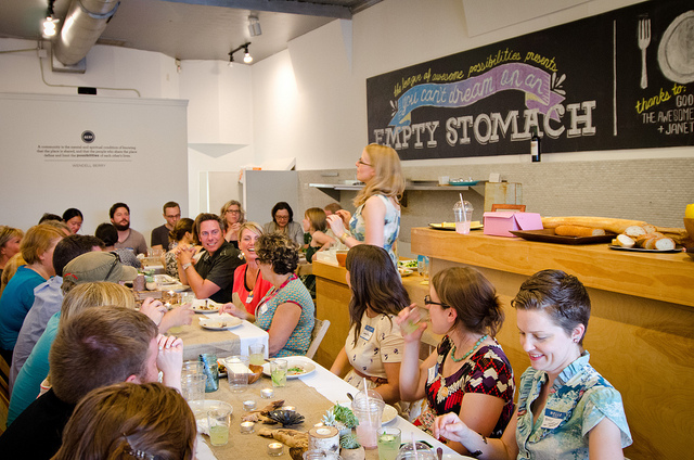 First Possibility Potluck  in an empty storefront– A dinner party meets design charrette for neighborhood development.