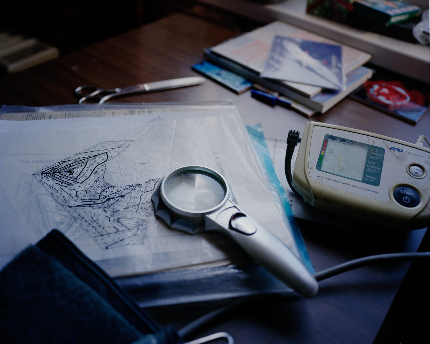 Smirnov's apartment was cluttered with ephemera related to the hole, his archives, and his medical devices.