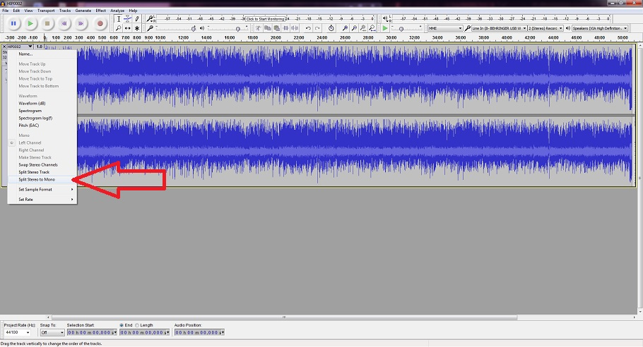 How to split a stereo track into two mono tracks in Audacity.