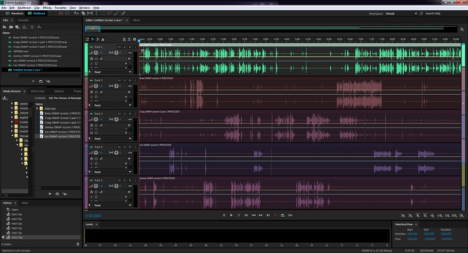 Editing a quintuple-ender actual play podcast with four players.