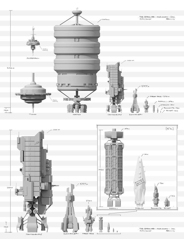 Scale of some of the ships in The Expanse, courtesy of Bob Munroe.