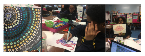 Art with Ms. Patterson  at 108 - Here are some recent snapshots from Ms. Patterson's art students as they are wrap up their study on Pointillism and embark on a journey into Impressionism…