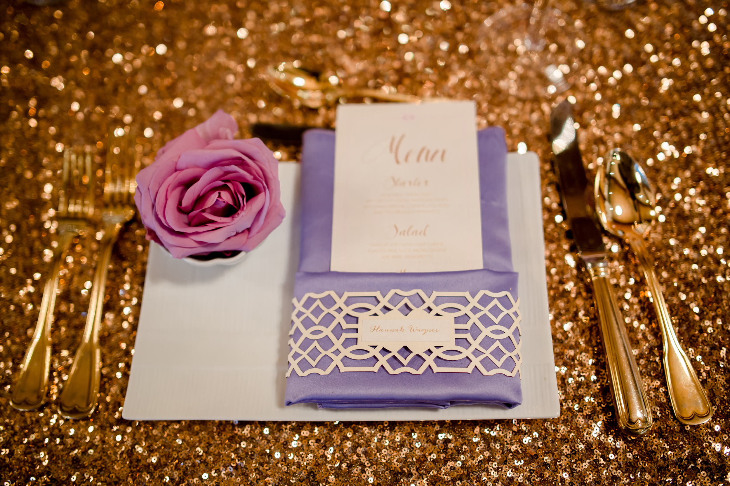 Menu and laser-cut napkin wrap place card for Atmosphere Productions