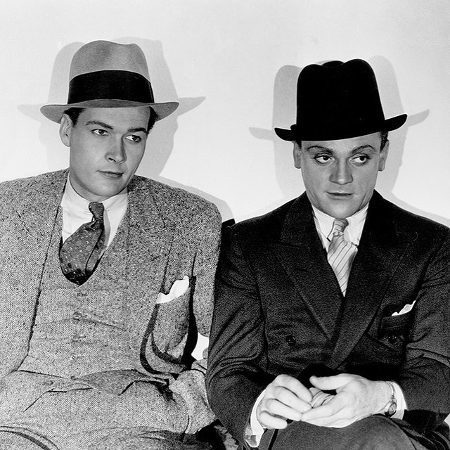 The Public Enemy. Edward Woods and James Cagney looking so sharp. 1931 classic film on our favorite TCM network. Who's looking for these looks? #tcm #doublebreastedsuit