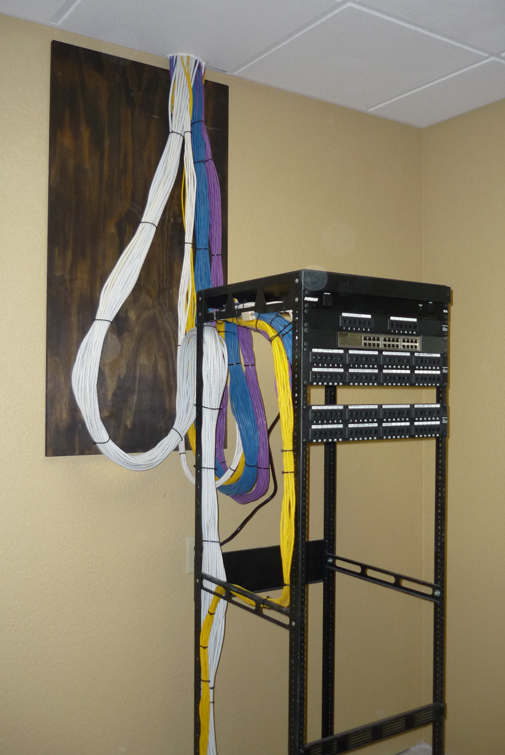 Commercial Phone, Network and TV Wiring Equipment Rack 1