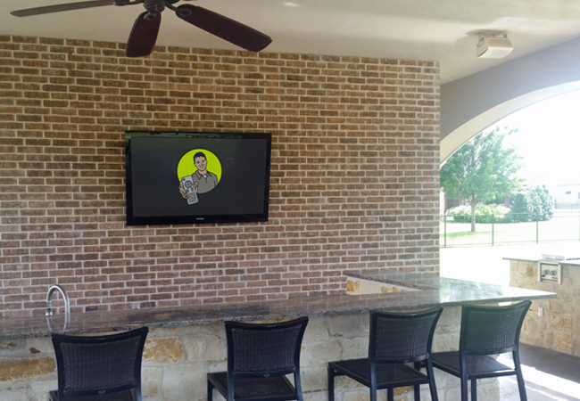 Outdoor Entertainment with TV and Outdoor Speakers
