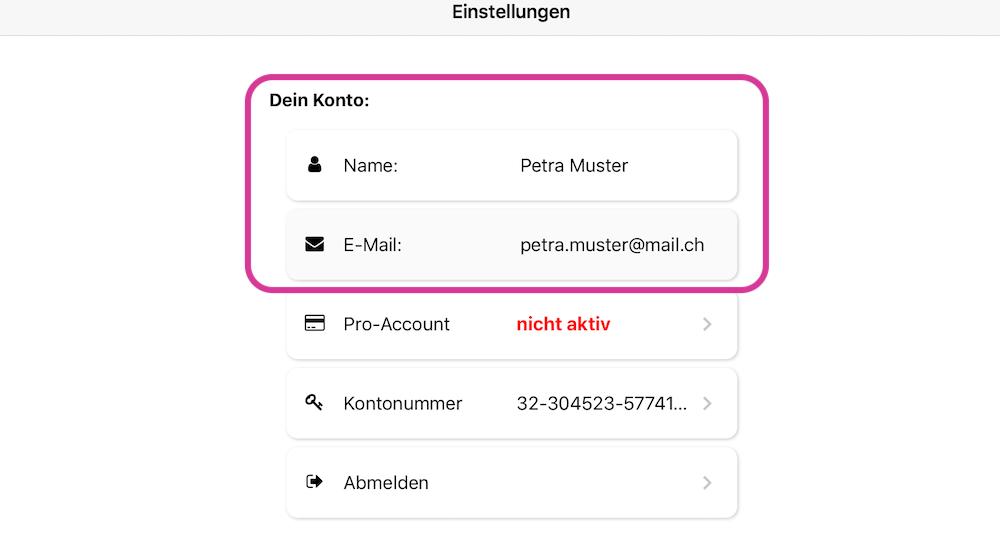4. Name des Kindes und E-Mail hinterlegen