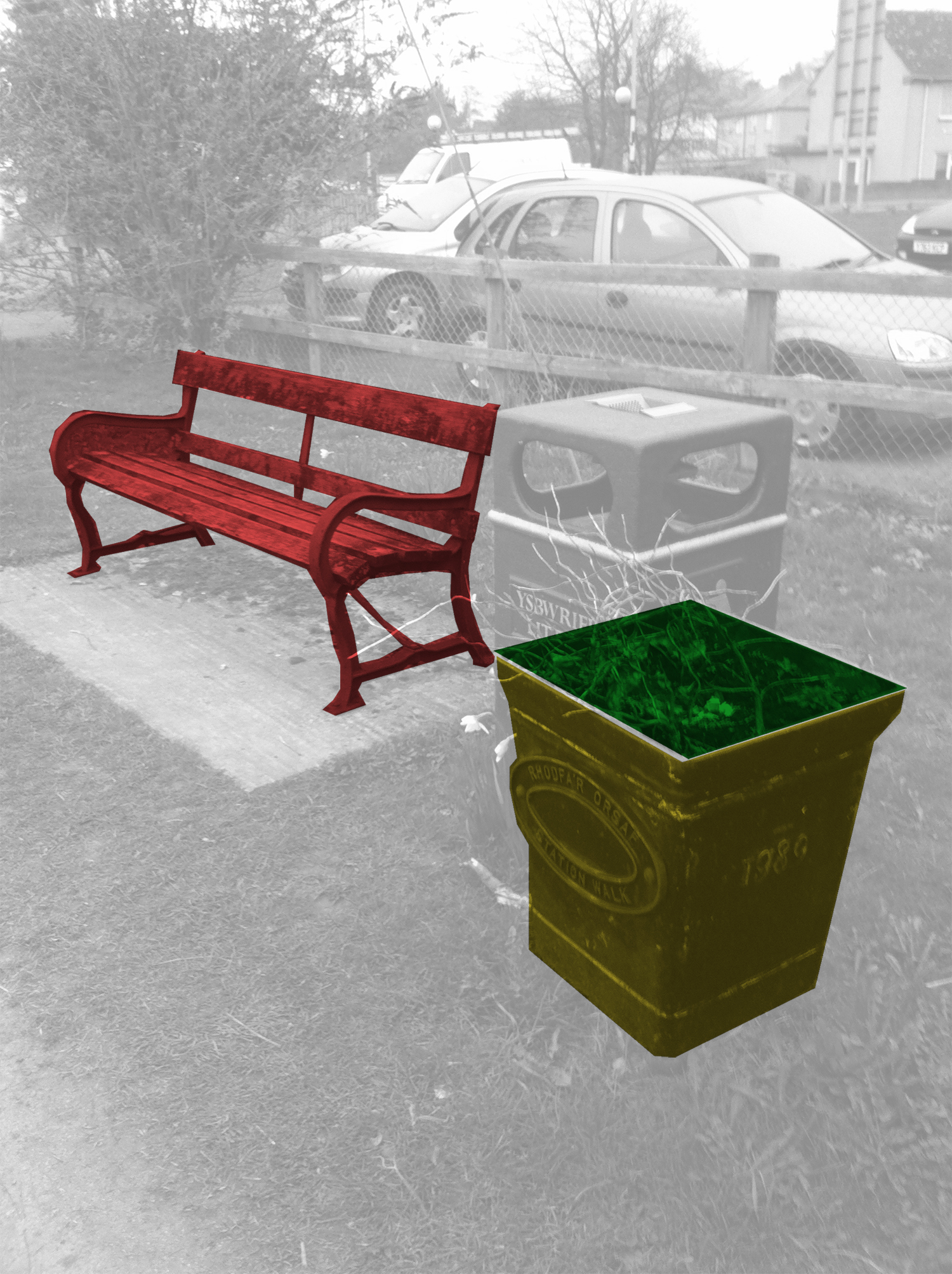 Identify different elements of street furniture- bench, planter, signs, bins...