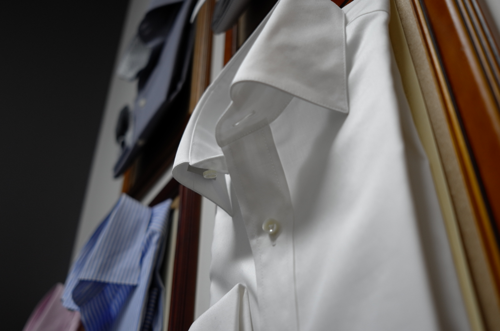 Our Wall of Shirts, makes picking collars and styling easier