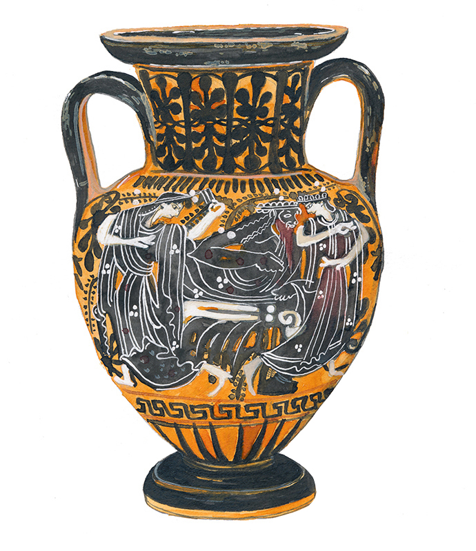 Attic Black-Figured Neck-Amhora, Late 6th BC - Watercolor and pencil on paper, 2018.I studied greek art and architecture in university for a short time and have always been fascinated with the pottery and ruins of the ancient Greeks. This is my watercolor illustration of an Attic Black-Figured Neck-Amhora, attributed to the red-line painter, Circa late 6th century BC. This is a typical merriment scene with Dionysos reclining on a Kline, with maenads dancing each side of him.