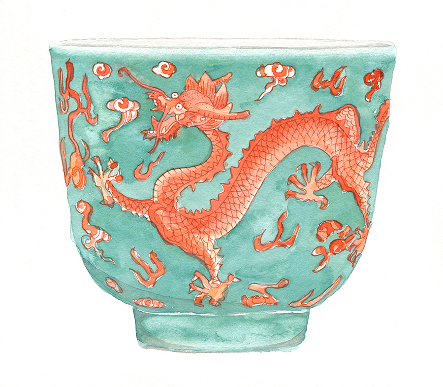 Dragon Cup, 1821-1850 - Watercolor and pencil on paper, 2018.Chinese antique ceramics have always fascinated me. I love the exaggerated subject matter, bright colors and intricate patterns. This little cup is from the mid 19th century. A tourquiose ground iron red decorated dragon cup from the Daoguang area.