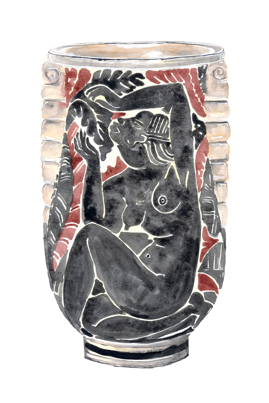 Glazed Stoneware by René Buthaud, 1931 - Watercolor and pencil on paper, 2018.René Buthaud was seen as the most accomplished and important French ceramist of the Art Deco period. He designed simple stoneware forms made for him by local potters and used crackle glazes with which to decorate them. He was also influenced by African tribal art, evident in those pieces where he used lustres or what he called 'peau de serpent' (snakeskin). Many of his best-known pieces are painted with female nudes. Work by Buthaud can be found in the collections of the Musée des Arts Décoratifs in Paris, the Metropolitan Museum of Art, among many others.