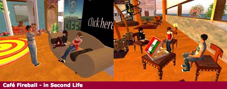 Cafe Fireball - a virtual world created in Second Life for McMaster University Engineering.