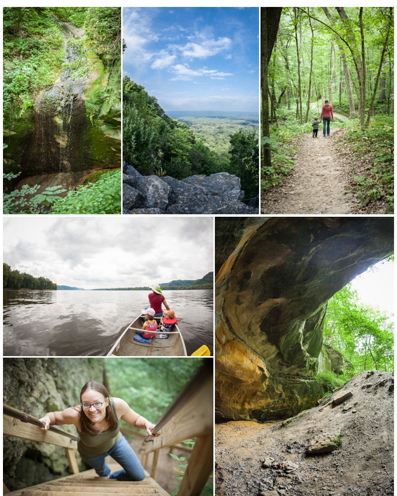 Photographs © Jeremy and Kristin Albright Top row: Little Sand Cave, Look out on the bluff trail, Hiking trail  to Big Sand Cave. Horizontal photos: canoeing on the Mississippi, climbing up to treasure cave. Bottom right: Big Sand Cave
