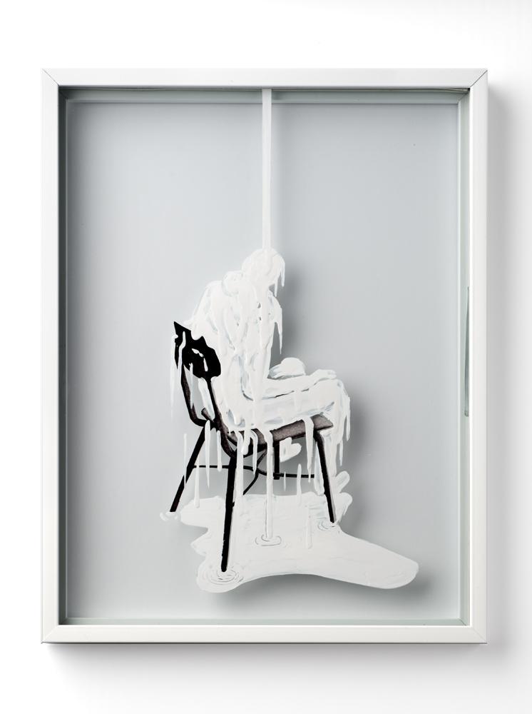 Polite Stranger III, 2013, enamel and collage on glass