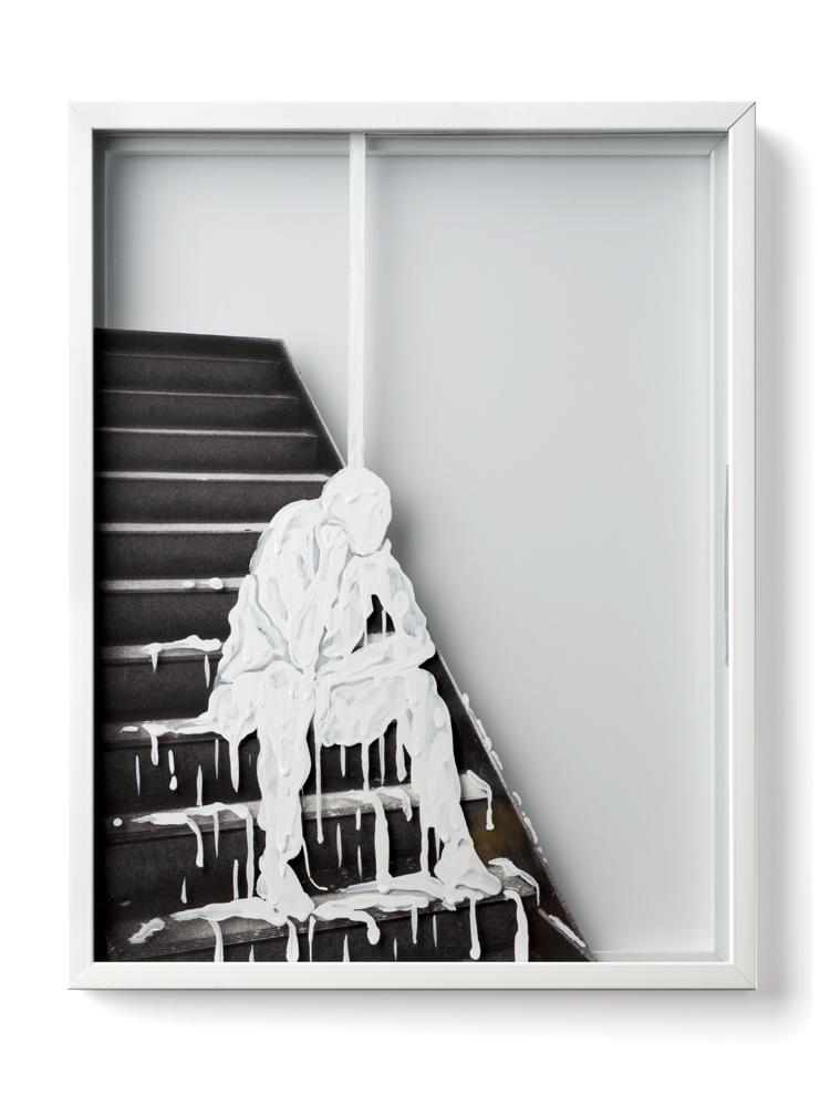 Polite Stranger IV , 2013, enamel and collage on glass