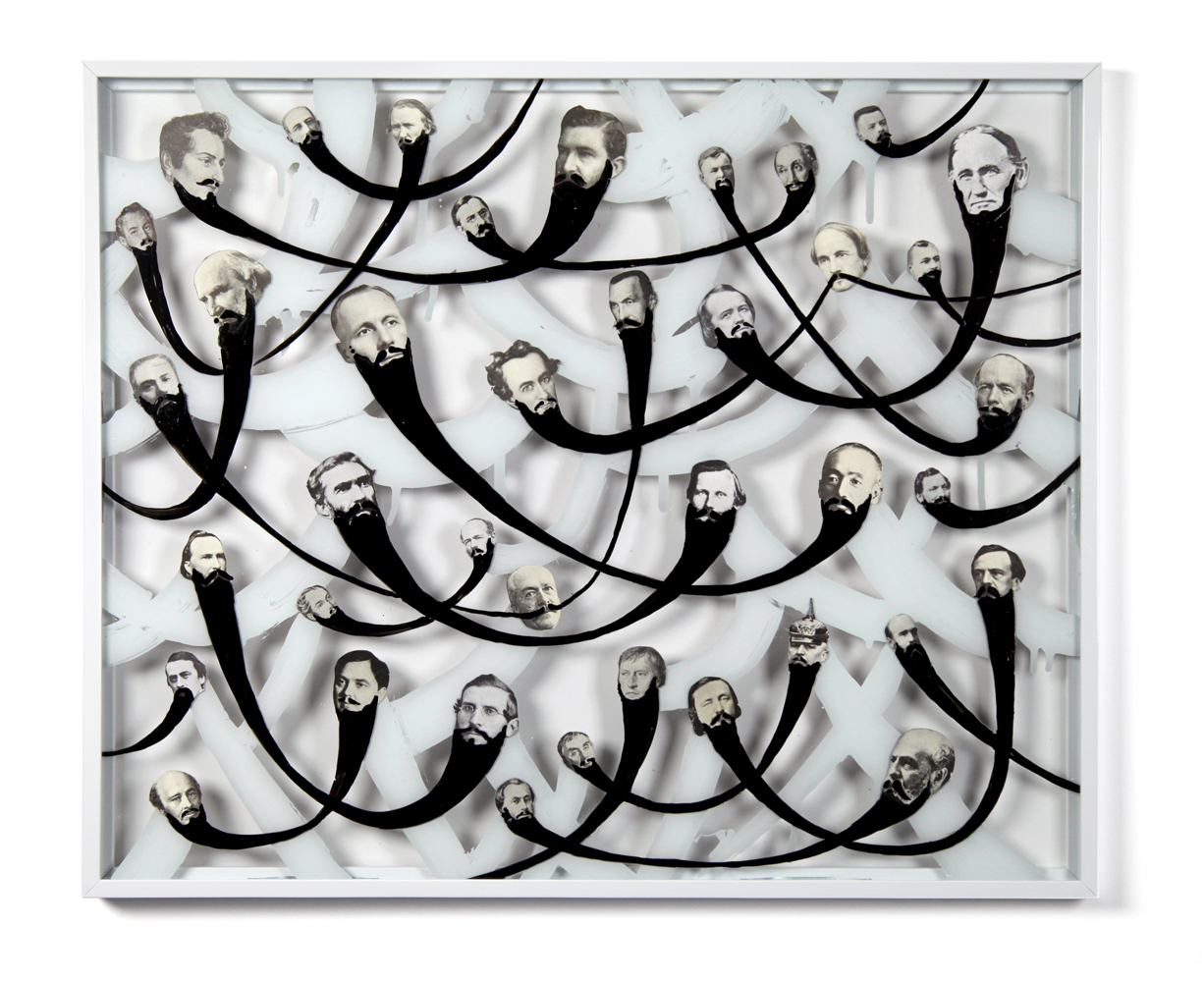 Barbarians 2 , 2013, enamel, silver nitrate and collage on glass