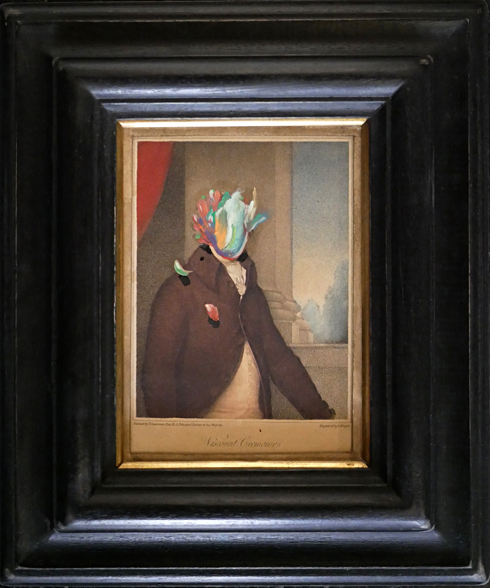 Caballero de la Triste Figura, 2018, Peinture à l'huile sur gravure anglaise du 19e siecle, 30 x 25 cm