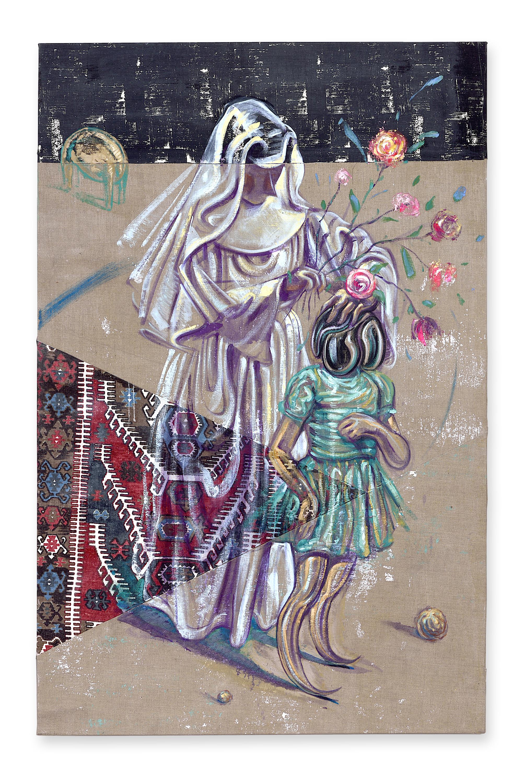 22. Prosthetic God-oil on linen and textile- 44 x72.jpg