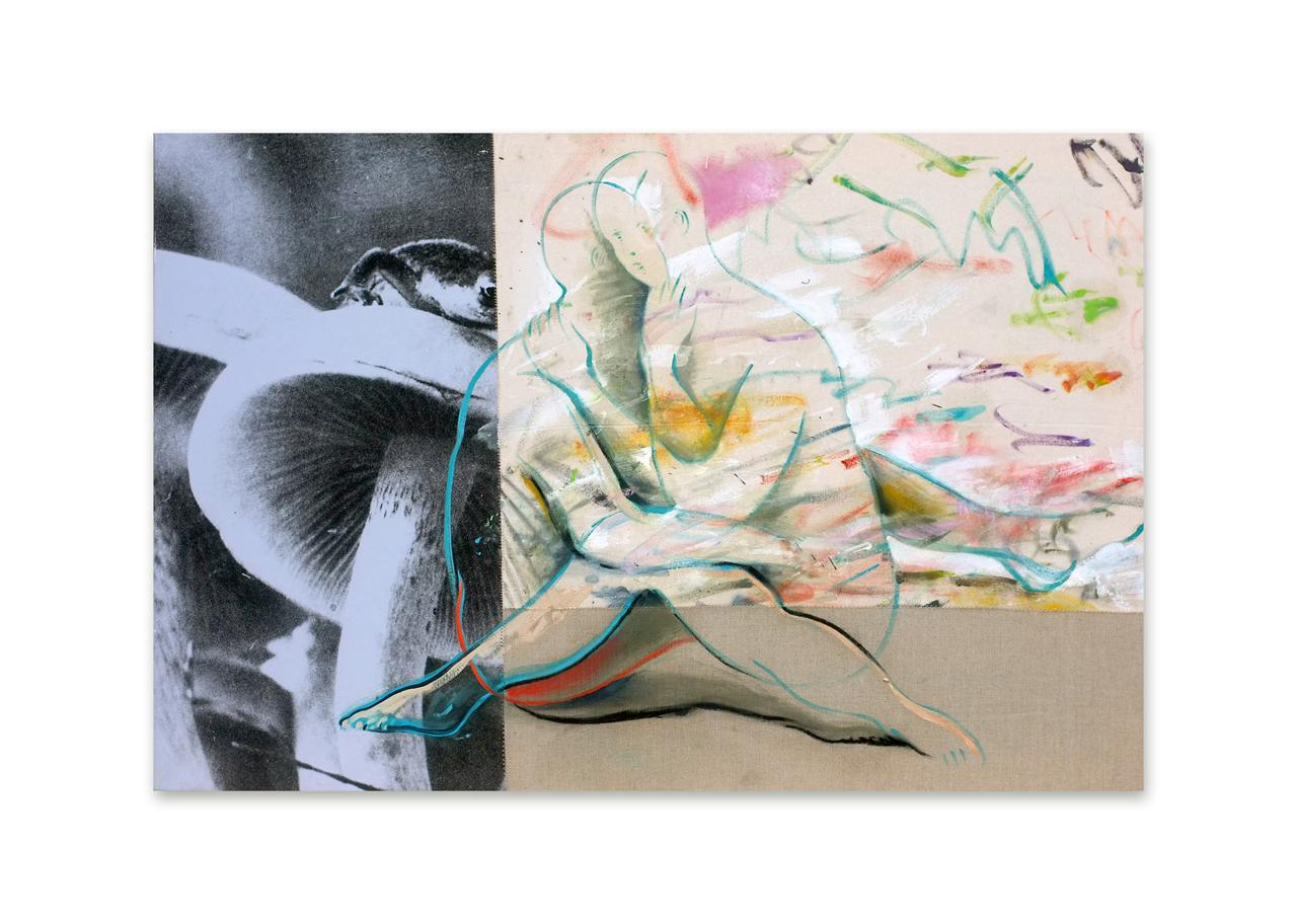 Anthropophagie, 2019, peinture à l'huile et tirage photographique sur toile cousus, 97 x 146 cm