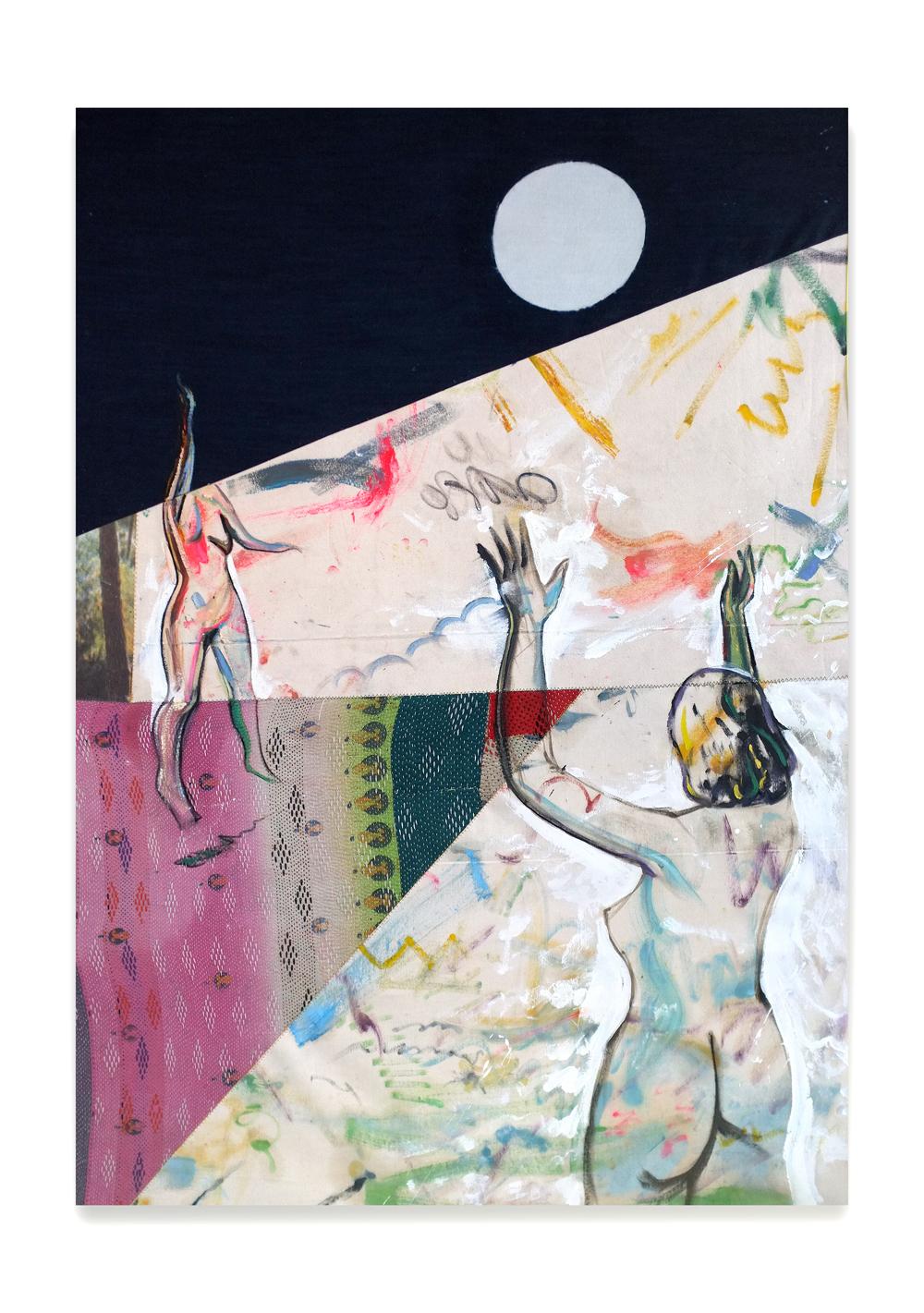 Inconstancy of a Friend, 2019, Peinture à l'huile et tirage photographique cousus sur toile, 114 x 162