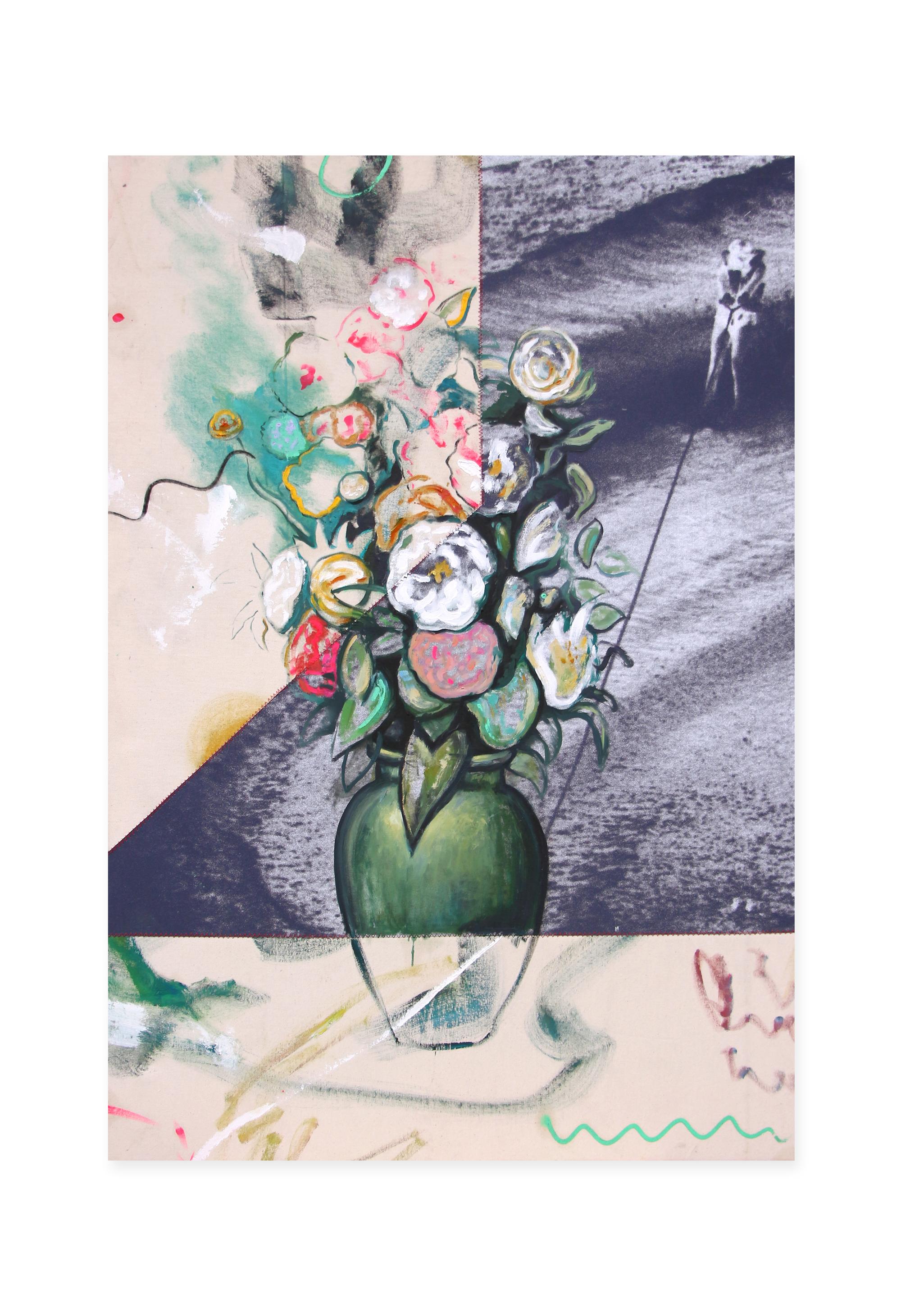 The Awareness of Sin, 2019, Peinture à l'huile et tirage photographique cousus sur toile, 89 x 130 cm