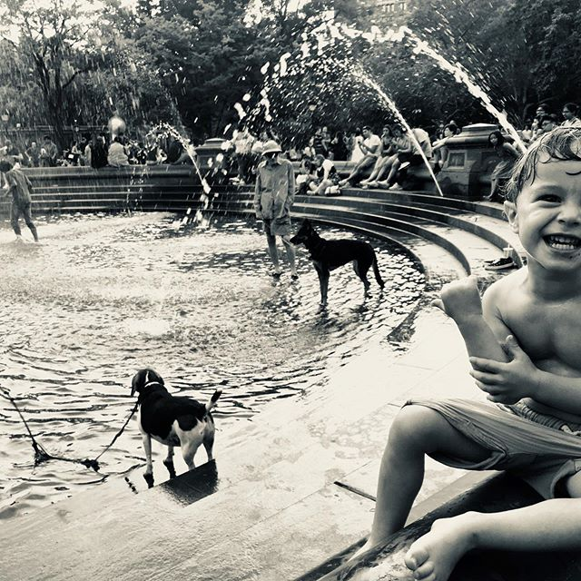 40 years later Milo following in his papas footsteps playing in the fountain in Washington Sq