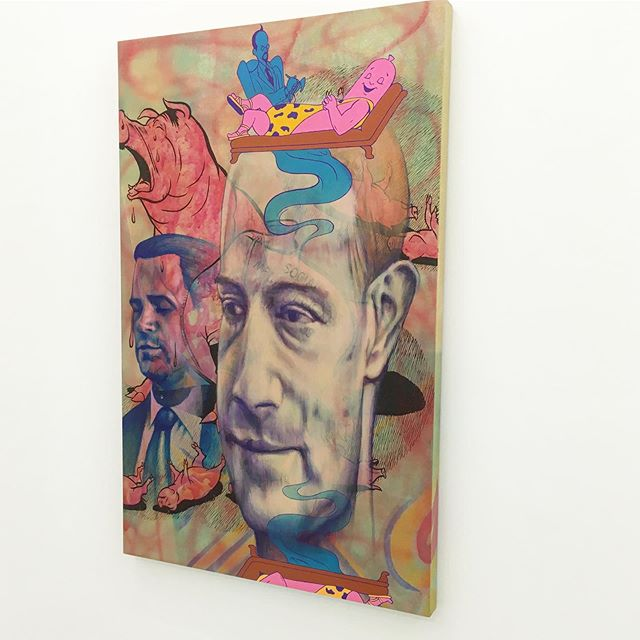 Jim Shaw wishing Milo a good night after the opening of his dynamic show at @prazdelavallade #jimshaw