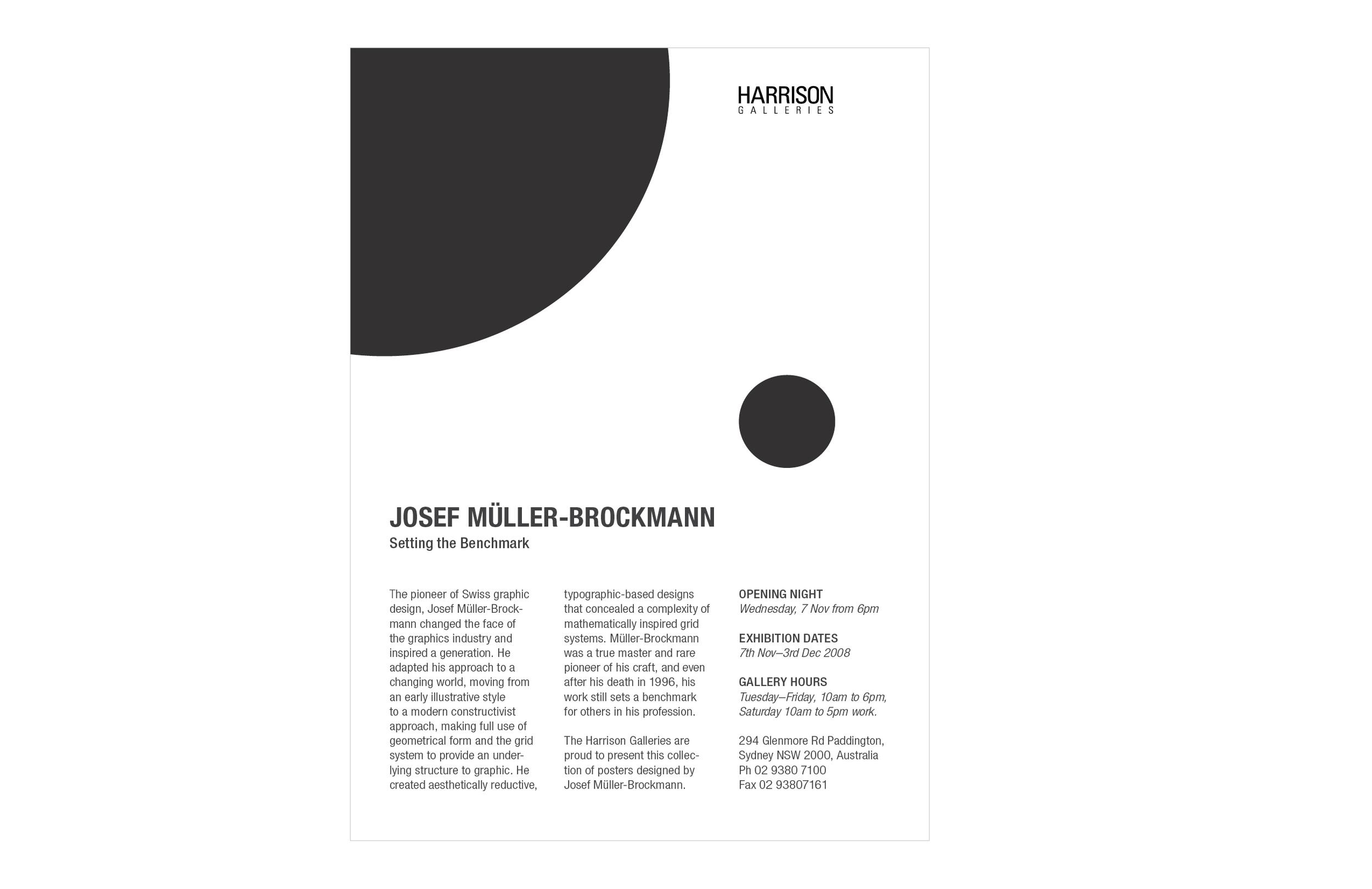Joseph Müller-Brockman Exhibit Invitation