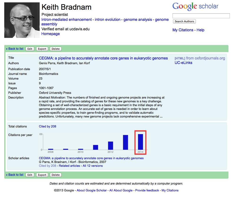 Growth of citations to CEGMA paper, as reported by Google Scholar