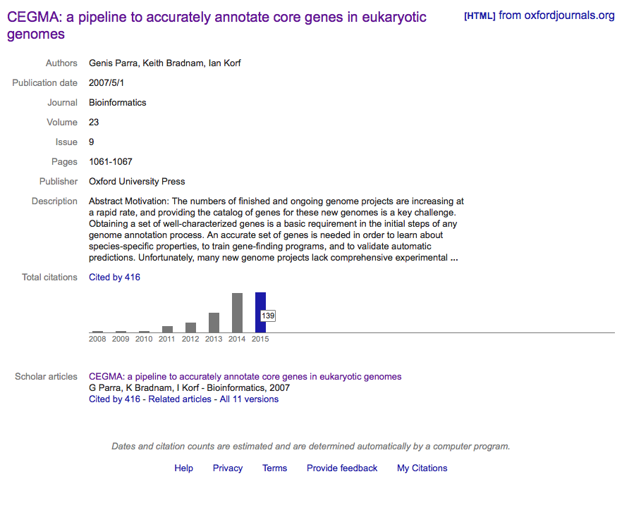 CEGMA citation details from  Google Scholar