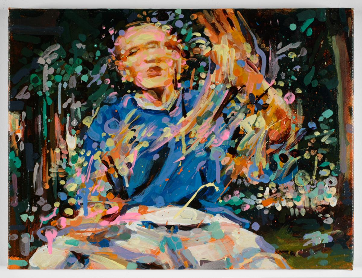"""MICHAEL VASQUEZ  """"Truce Talk 3"""" 2008  acrylic on canvas  16 x 20"""""""