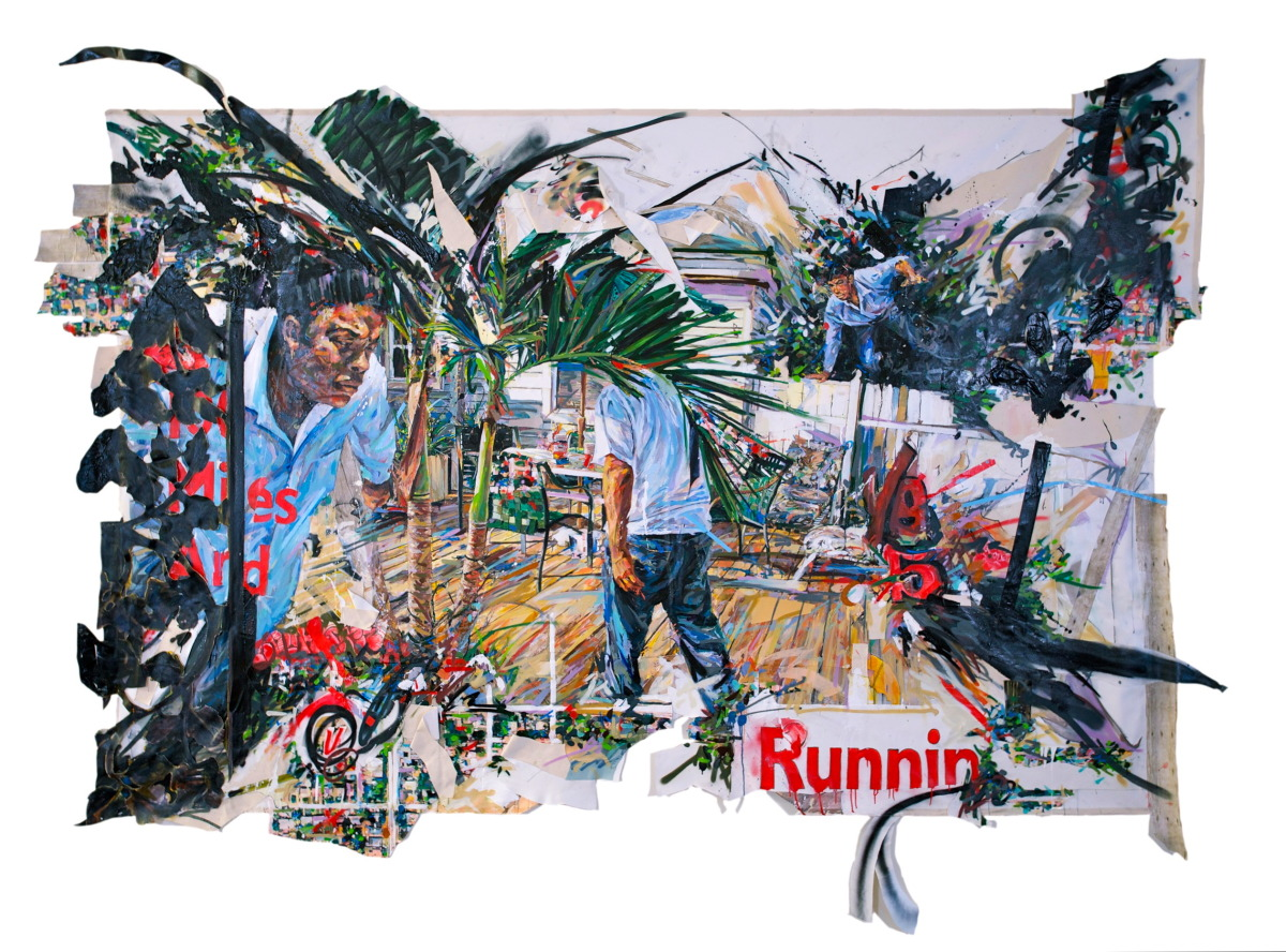 "MICHAEL VASQUEZ  ""100 Miles and Runnin' "" 2011  Collaged acrylic on canvas paintings, inkjet prints, paper, charcoal, acrylic, and spray paint on canvas  150 x 130"""