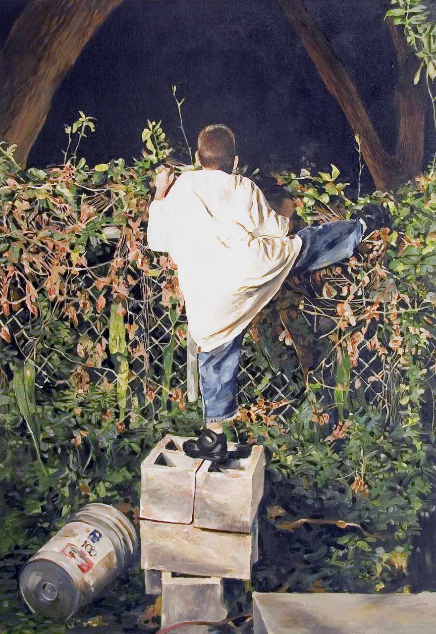 "MICHAEL VASQUEZ  ""Finding Ways Of Jumping Fences"" 2006  oil on canvas  60 x 40"""