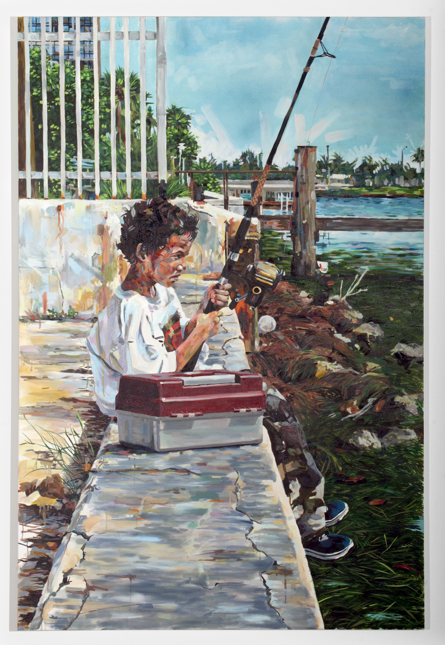 "MICHAEL VASQUEZ  ""Fishing With Father"" 2006  acrylic and oil on canvas  72 x 48"""