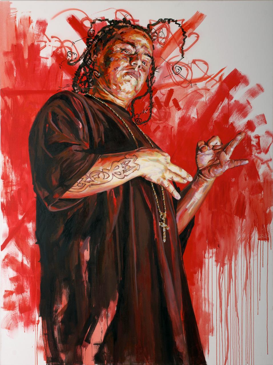 "MICHAEL VASQUEZ  ""Friendly Fatherly Figures - Grim"" 2006  acrylic on canvas  96 x 72"""