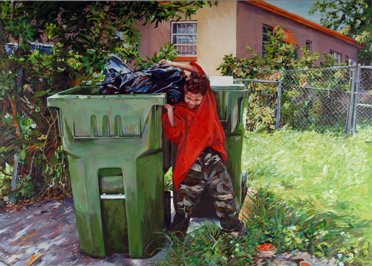 "MICHAEL VASQUEZ  ""The Weighted Trash Chore"" 2006  acrylic and oil on canvas  60 x 84"""