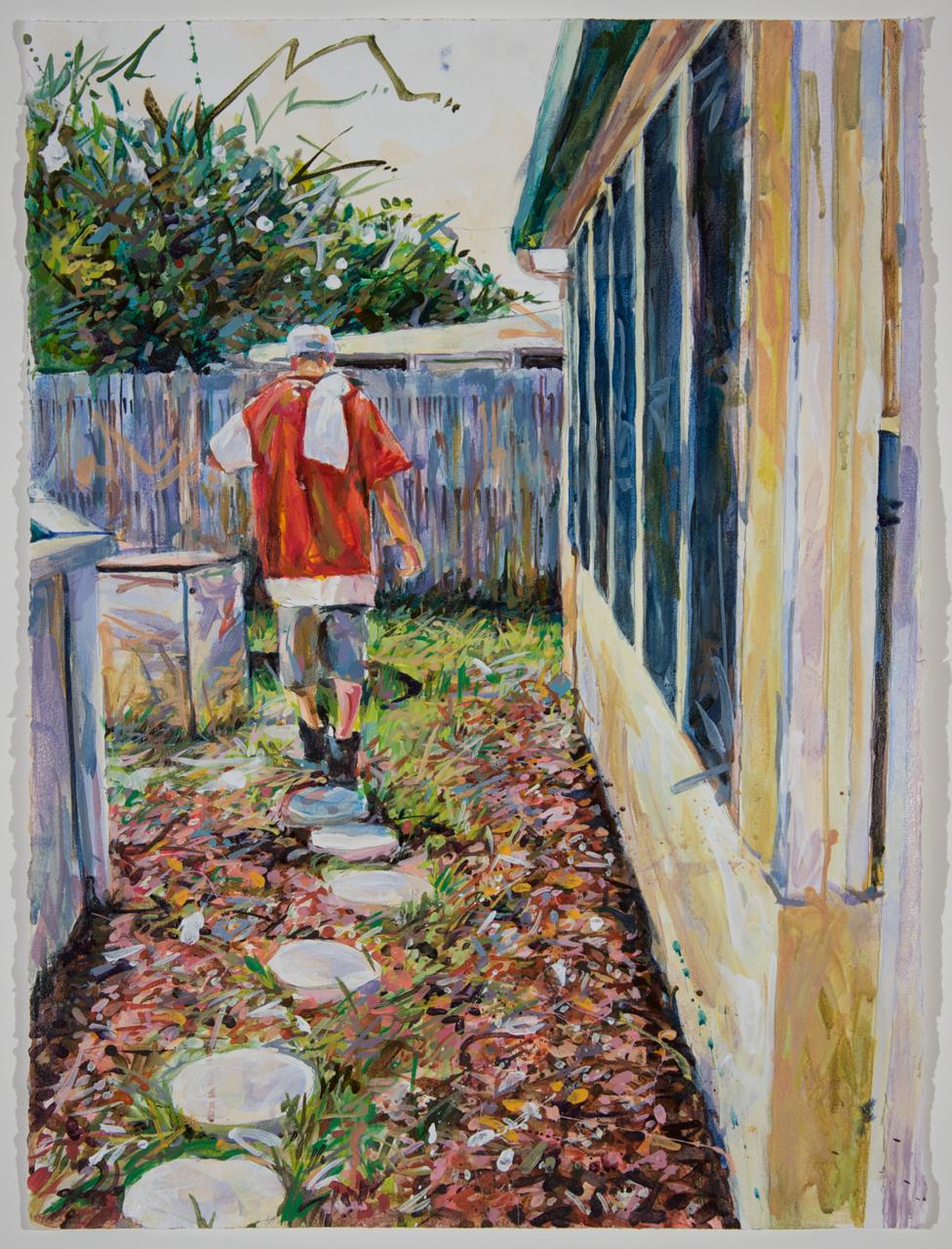 "MICHAEL VASQUEZ  ""Follow Me"" 2010  acrylic on paper  30 x 22"""