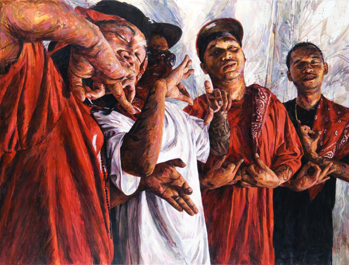 "MICHAEL VASQUEZ  ""The Line Up"" 2009  acrylic on canvas  72 x 96"""